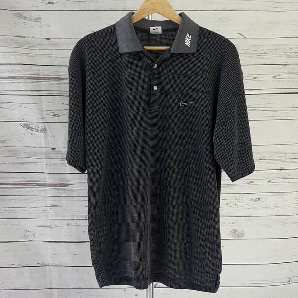 Nike Shirts Black Gray Embroider Textured Golf Polo Shirt Poshmark